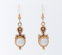 Antique 14K Yellow Gold and Pearl Drop Earrings image 2