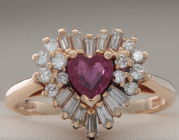 Estate Ruby and Diamond Heart Ring image 2