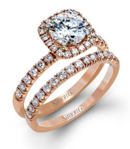 Stunning Simon G. Engagement Ring & Band Set image 2