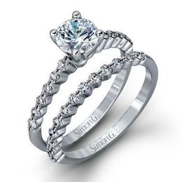 Beautiful Simon G Engagement Ring & Wedding Band Set MR2173-D image 2
