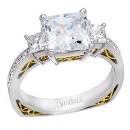Lovely Simon G Three Stone Princess Cut Diamond Engagement Ring image 2