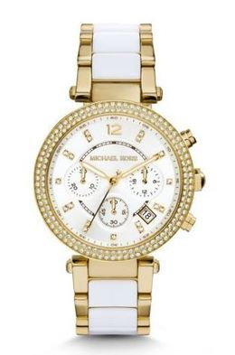 Michael Kors Parker Pavé Gold-Tone Acetate Watch image 1