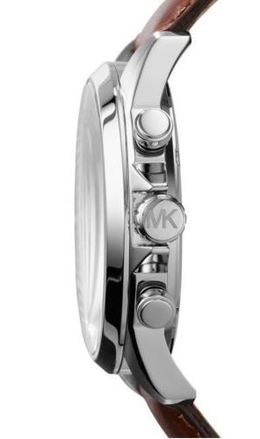 Michael Kors Gage Leather-Strap Silver-Tone Stainless Steel Watch image 3