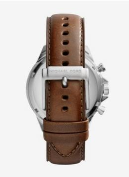Michael Kors Gage Leather-Strap Silver-Tone Stainless Steel Watch image 2