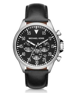 Michael Kors Gage Silver-Tone And Leather Watch image 1