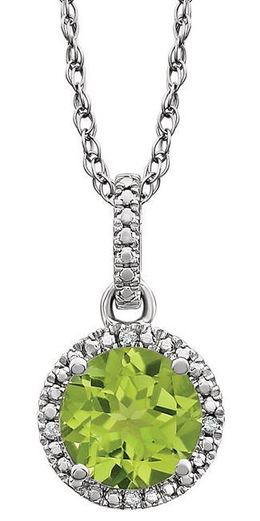 "Sterling Silver Peridot 18"" Necklace image 2"