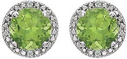 Sterling Silver Peridot & .01 CTW Diamond Earrings image 2