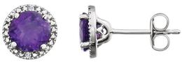 Sterling Silver Amethyst & .01 CTW Diamond Earrings image 2