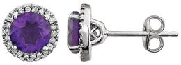 14kt White Gold Amethyst & 1/8 CTW Diamond Earrings image 2