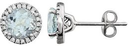 14kt White Gold Aquamarine & 1/8 CTW Diamond Earrings image 2