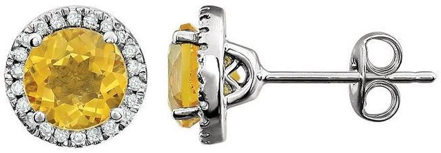 14kt White Gold Citrine & 1/8 CTW Diamond Earrings image 2