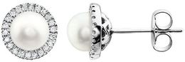 14kt White Gold Freshwater Cultured Pearl & 1/8 CTW Diamond Earrings image 2