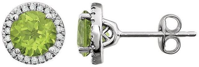 14kt White Gold Peridot & 1/8 CTW Diamond Earrings image 2