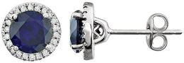 14kt White Gold Blue Sapphire & 1/8 CTW Diamond Earrings image 2