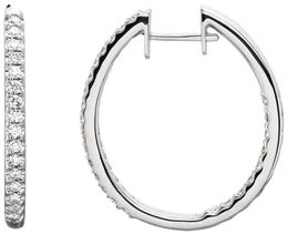 14kt White Gold 3/4 CTW Diamond Hinged Inside/Outside Hoop Earrings image 2