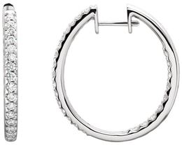 14kt White Gold 1 CTW Diamond Hinged Inside/Outside Hoop Earrings image 2
