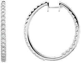 14kt White Gold 3 CTW Diamond Hinged Inside/Outside Hoop Earrings image 2