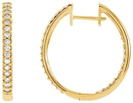 14kt Yellow Gold 1/2 CTW Diamond Hinged Inside/Outside Hoop Earrings image 2