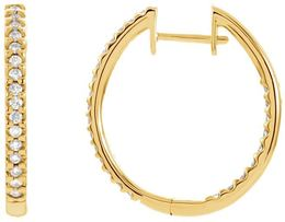 14kt Yellow Gold 3/4 CTW Diamond Hinged Inside/Outside Hoop Earrings image 2
