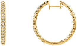 14kt Yellow Gold 1 CTW Diamond Hinged Inside/Outside Hoop Earrings image 2