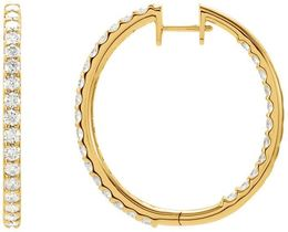 14kt Yellow Gold 3 CTW Diamond Hinged Inside/Outside Hoop Earrings image 2