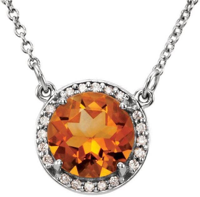 "14kt White Gold Citrine & .05 CTW Diamond 16"" Necklace image 2"