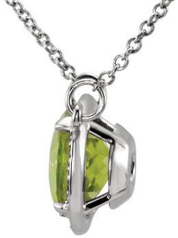 "14kt White Gold Peridot & .05 CTW Diamond 16"" Necklace image 2"