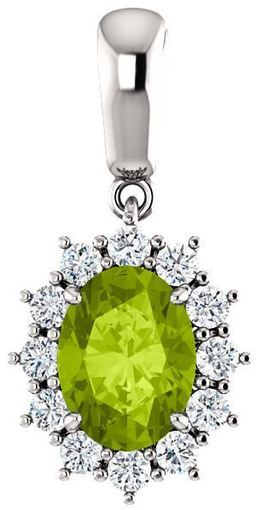 14kt White Gold Oval Pendant Mounting with Peridot image 2