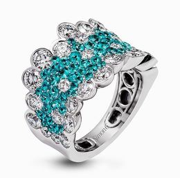 Simon G 18kt White Gold Diamond & Paraiba Tourmaline Ring image 2