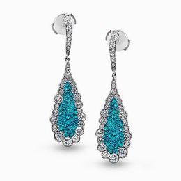 Simon G 18kt White Gold Diamond & Paraiba Earrings image 2