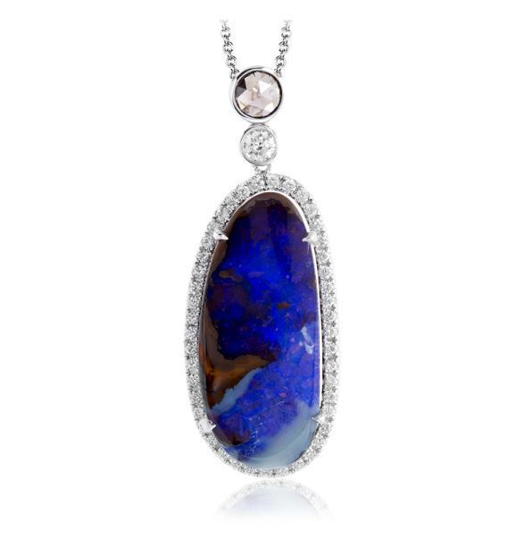 Simon G 18kt White Gold Diamond & Opal Pendant image 2