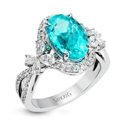 Simon G 18kt White Gold & Paraiba Tourmaline Fashion Ring image 2