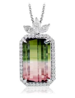 Simon G 18kt White Gold Watermelon Tourmaline Pendant image 2