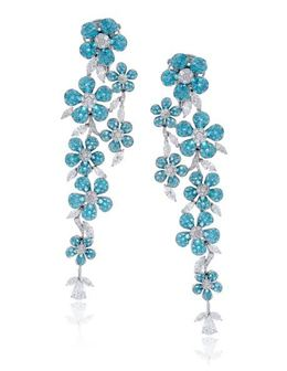 Simon G 18kt White Gold Blue Paraiba Tourmaline Earrings image 2