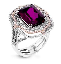 Simon G 18kt White Gold Rubellite Fashion Ring image 2