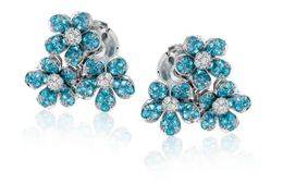 Simon G 18kt White Gold Blue Paraiba Tourmaline Stud Earrings image 2