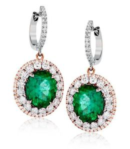 Simon G 18kt White Gold Green Emerald Earrings image 2