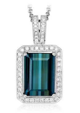 Simon G 18kt White Gold Rectangular Green Tourmaline Pendant image 2
