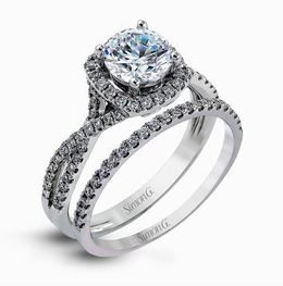 Simon G 18kt White Gold Twisted Shank Engagement Ring Set image 2