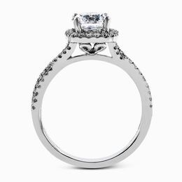 Simon G 18kt White Gold Twisted Shank Engagement Ring Set image 3