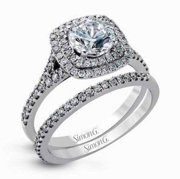Simon G 18kt White Gold Contemporary Halo Engagement Ring Set image 2