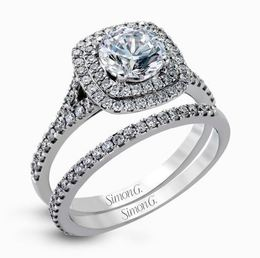 Simon G 18kt White Gold Contemporary Halo Engagement Ring Set image 1