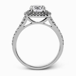 Simon G 18kt White Gold Contemporary Halo Engagement Ring Set image 3