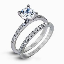 Simon G 18kt White Gold Classic Round Cut Engagment Ring Set image 2