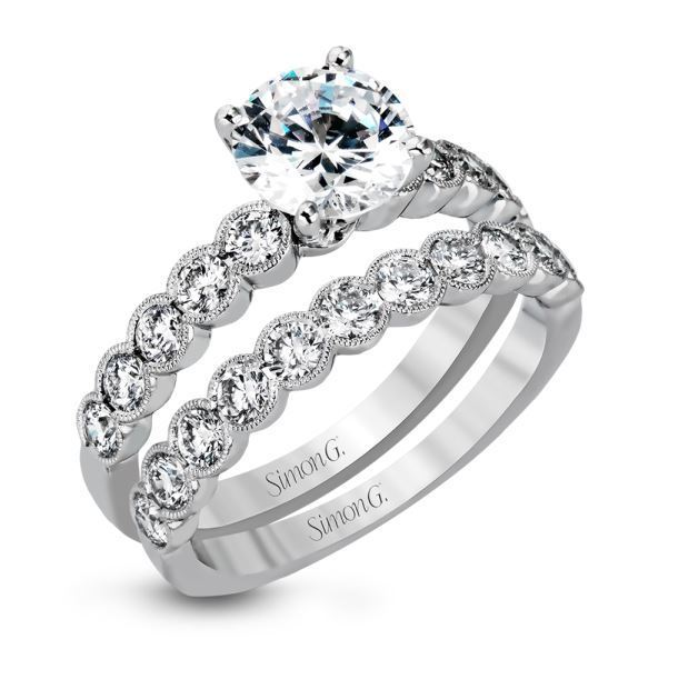 Simon G 18kt Stunning White Gold Engagement Ring Set image 2