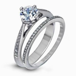Simon G 18kt White Gold Elegant Engagement Ring & Wedding Band Set image 1