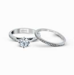 Simon G 18kt White Gold Elegant Engagement Ring & Wedding Band Set image 3