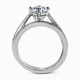 Simon G 18kt White Gold Elegant Engagement Ring & Wedding Band Set image 2
