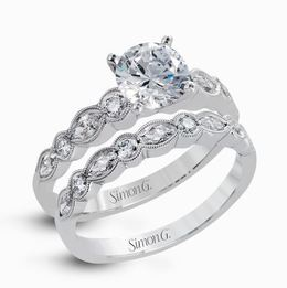 Simon G 18kt White Gold Engagement Ring & Wedding Band Set image 2