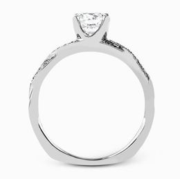 Simon G Elegant 18kt White Gold Engagement Ring & Wedding Band Set image 2